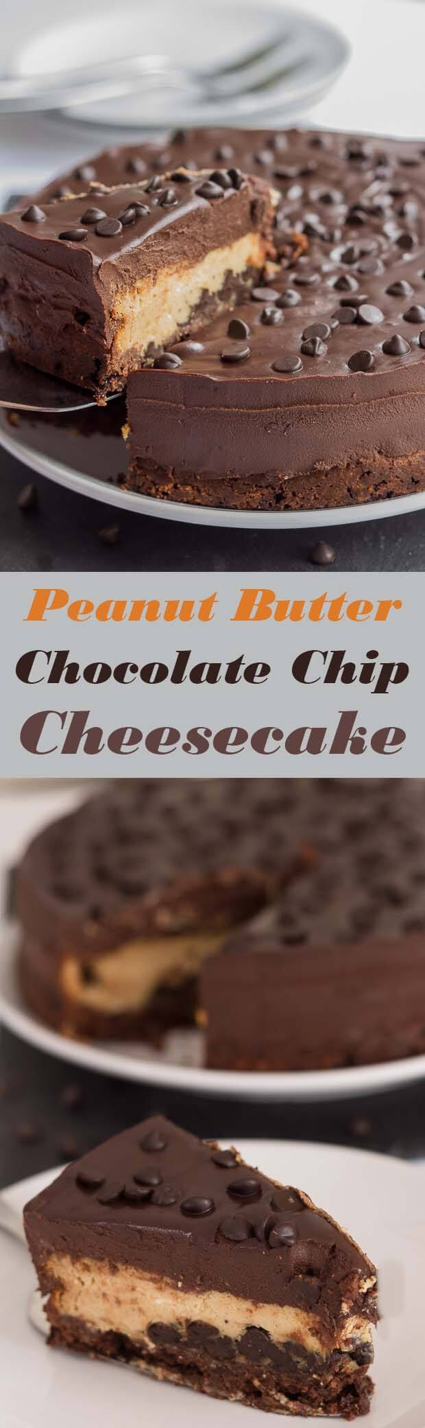 This peanut butter chocolate chip cheesecake is a piece of heaven. Indulgent, sweet and creamy. A mouthwatering chocolate biscuit base topped with delicious chocolate chips and peanut butter then finished with a velvety chocolate ganache!