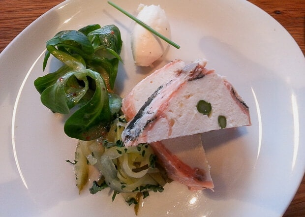 Poached halibut, asparagus and salmon gravadlax terrine with pickled cucumber