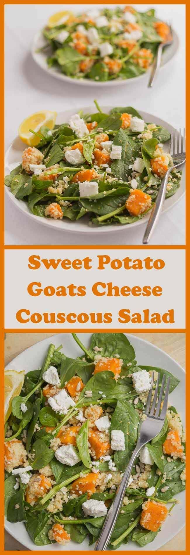 This sweet potato goats cheese and couscous salad is delicious. It's packed with protein, dietary fibre and makes a great quick healthy lunch. The really light olive oil and lemon juice marinade gives it a perfectly balanced light and fresh
