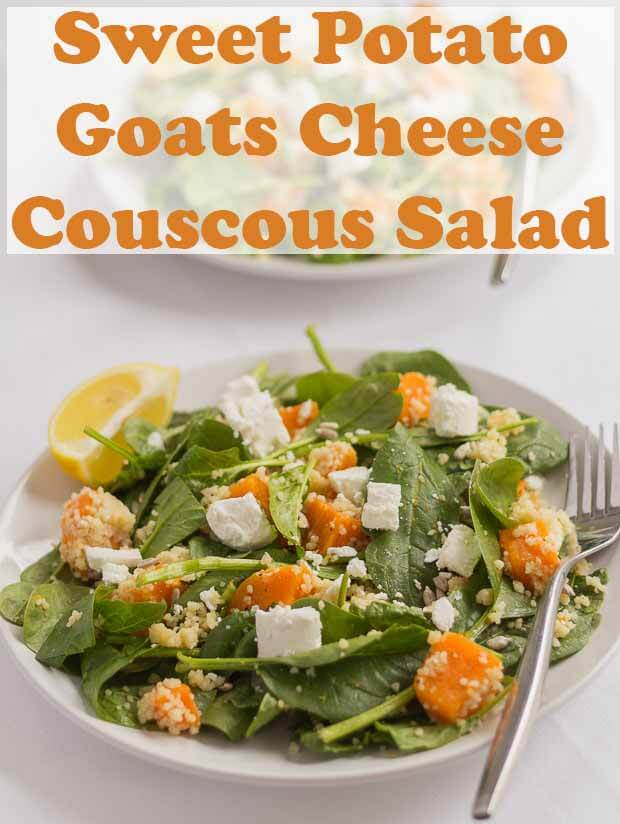 This sweet potato goats cheese and couscous salad is delicious. It's packed with protein, dietary fibre and makes a great quick healthy lunch. #neilshealthymeals #recipe #sweetpotato #goatscheese #couscous #salad.