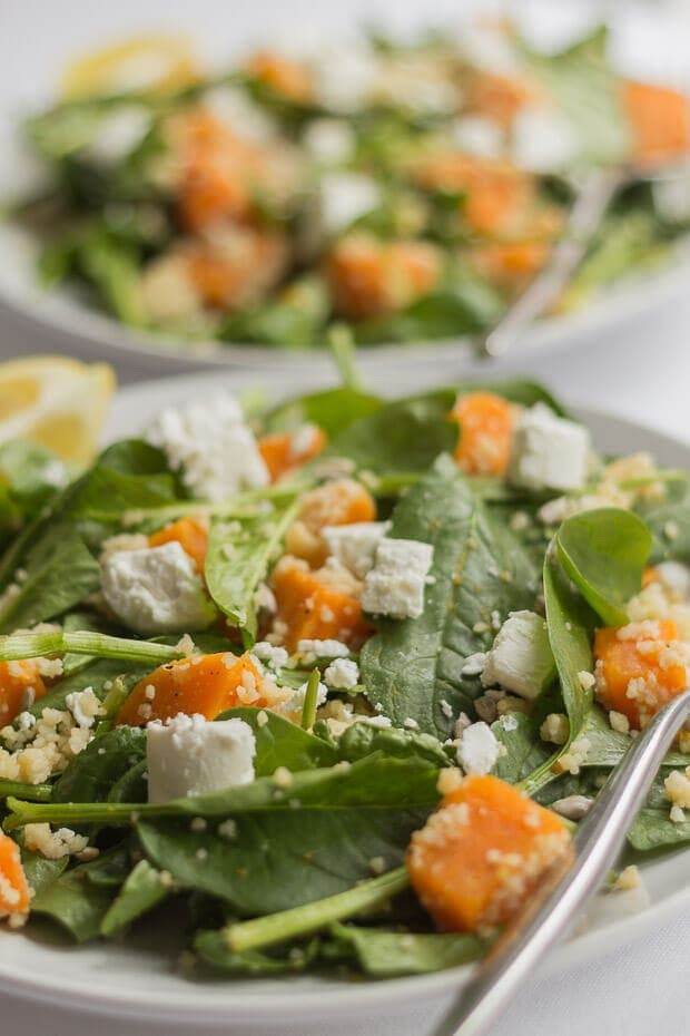 """This sweet potato goats cheese and couscous salad is delicious. It's packed with protein, dietary fibre and makes a great quick healthy lunch. The really light olive oil and lemon juice marinade gives it a perfectly balanced light and fresh """"zingy"""" taste."""