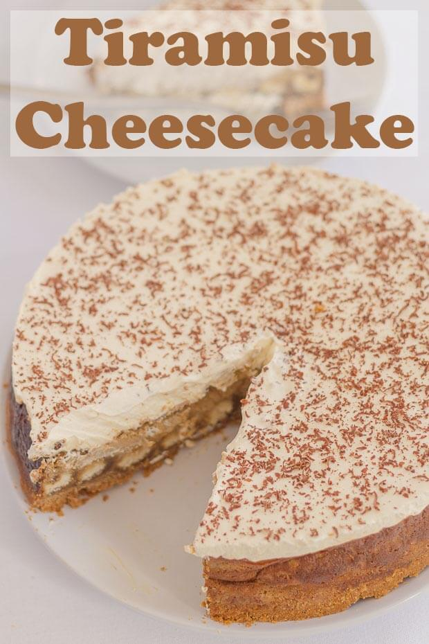 Tiramisu cheesecake is the delicious Italian coffee-flavoured dessert turned into an equally delicious cheesecake. Indulgent, heavenly, and made with lower calorie ingredients too! This easy recipe is superb for a dinner party. It will have your guests in complete awe at your tasty dessert skills and most definitely asking for more! #neilshealthymeals #recipe #dessert #cheesecake #tiramisu #tiramisucheesecake #indulgent #dinnerpartydessert