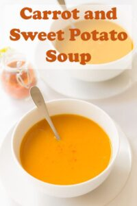 This healthy carrot and sweet potato soup recipe is delicious and simple to make. Vegan and gluten free it's also low calorie and filling too. Dairy free, it's a soup that gives you a warming hug just when you need it most! #neilshealthymeals #recipe #soup #carrot #sweetpotato #carrotsoup #sweetpotatosoup #healthy #vegan #glutenfree #easysoup