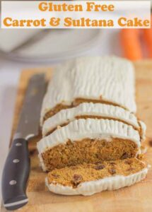 Gluten free carrot and sultana cake is a delicious and easy to make cake recipe. A beautiful moist texture and sweet taste topped with a smooth and dreamy no fat healthier cream cheese topping! #neilshealthymeals #recipe #carrot #cake