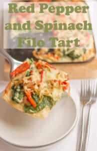 This red pepper and spinach filo tart makes for a delicious, versatile, easy hot or cold vegetarian brunch or dinner option. What's not to like about tasty oven baked veggies topped with Mediterranean herbs and cheese? #neilshealthymeals #recipe #lunch #redpepper #spinach #filo #filotart #filopastry #vegetarian