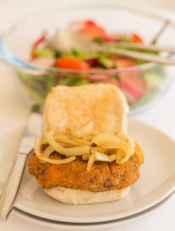 These sweet potato and mozzarella burgers are so tasty and easy to make. With melted mozzarella cheese within and a light crunchy breadcrumb coating. they make a delicious, vegetarian alternative that kids (and adults) will love!