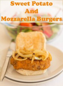 These healthy sweet potato and mozzarella burgers are so tasty and easy to make. With melted mozzarella cheese within and a light crunchy breadcrumb coating this recipes make a delicious, vegetarian alternative that kids (and adults) will love! #neilshealthymeals #recipe #sweetpotato #burger #easy