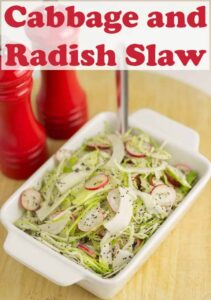 This cabbage and radish slaw is a wonderfully quick, freshly tasting and healthy side dish to go with your BBQ's and salads! The low fat dressing is made lighter by using half yogurt combined with reduced fat mayonnaise and spiced up with just a little cider vinegar. At only 62 calories a serving, there's no guilt with piling this high on your plate! #neilshealthymeals #recipe #cabbage #radish #coleslaw