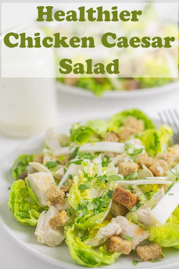 Chicken Caesar salad made healthier with wholemeal croutons and a lower calorie dressing. This recipe is basically the same as the delicious original. But you just wont be counting the impact of the calories with this version! And it's great for packed lunches! #neilshealthymeals #recipe #chicken #caesar #salad