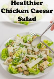 Dressing being spooned onto a plate of chicken Caesar salad. Pin title text overlay at top.