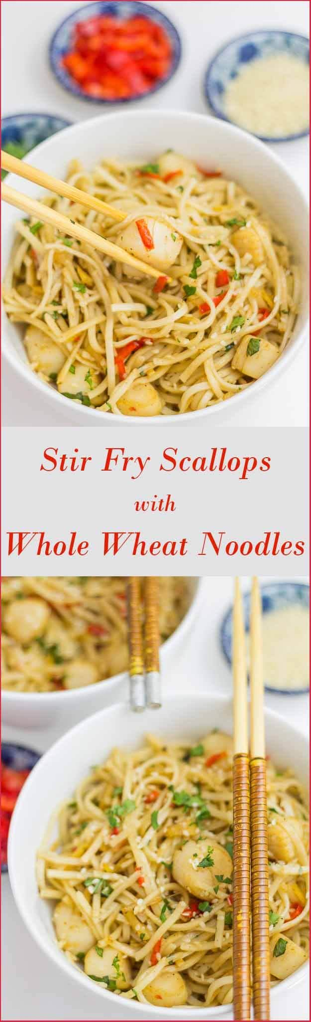 Quick and low cost healthy stir fried scallops recipe. Made with whole wheat noodles. This tasty recipe can be on the table in less than 30 minutes.