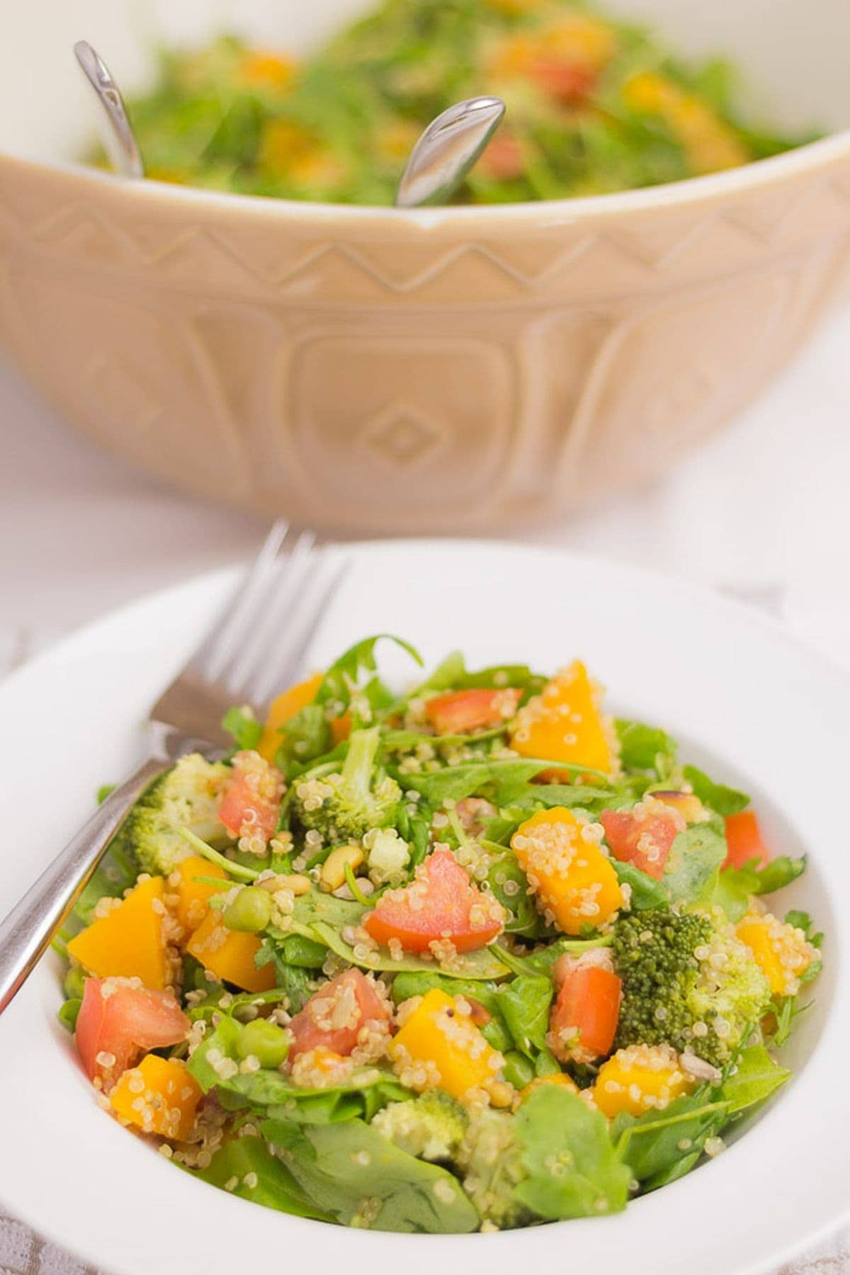 A plate of summer superfood salad with the rest in a large bowl in the background.
