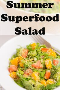 Close up of a plate of summer superfood salad. Pin title text overlay at top.