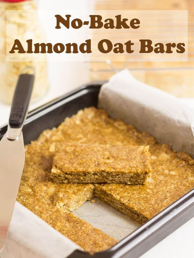 Crammed full of healthy wholegrain oats, almonds, almond butter and honey. These simple healthy easy no-bake almond oat bars are a guaranteed energy boost just when you need it most. Watch the recipe video to see how to make them!#neilshealthymeals #recipe #snacks #nobake #almond #oats #oatbars