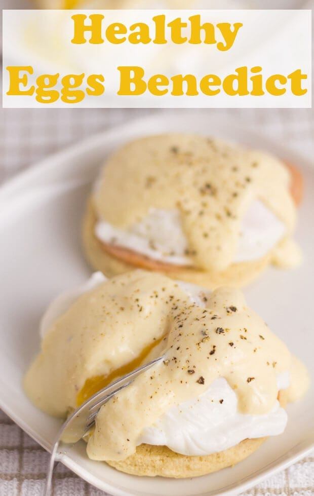 Healthy eggs benedict. Here, the delicious and classic eggs benedict has been given a healthy makeover. A creamy yogurt hollandaise sauce replaces butter with lean turkey bacon and home made lower fat English muffins. #neilshealthymeals #recipe #eggs #eggsbreakfast #healthyeggs #healthyeggsbenedict #easyeggsbenedict