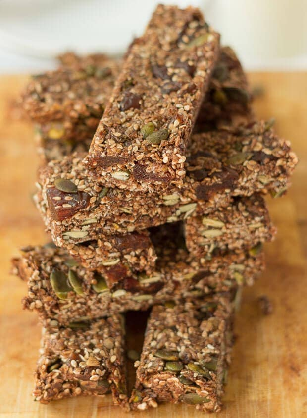 No bake breakfast granola bars. These are low calorie, nut free and so easy to make. They're not only ideal as a quick grab breakfast, but as a healthy snack option during the day too!