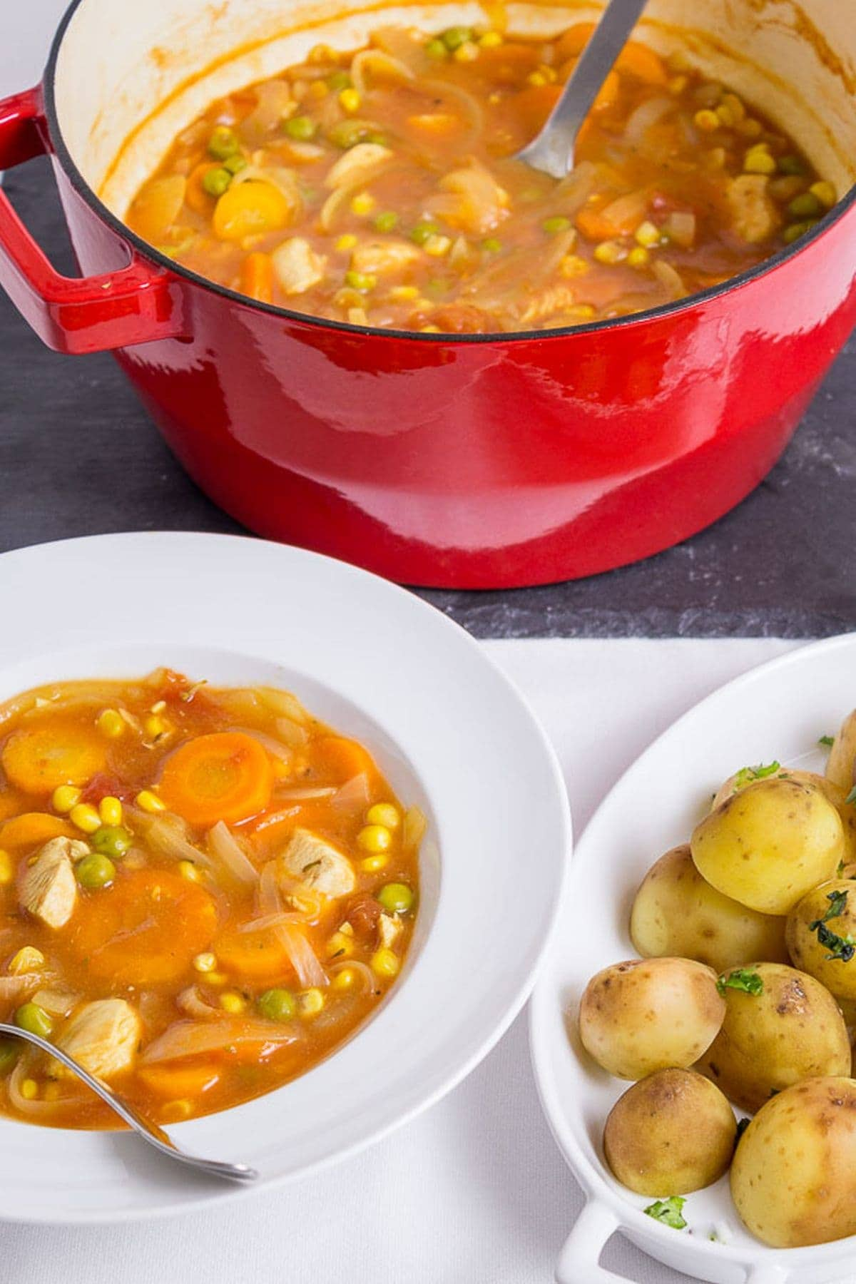 A pot of healthy chicken stew in the background with a serving of the stew and a plate of potatoes as a side at the front.
