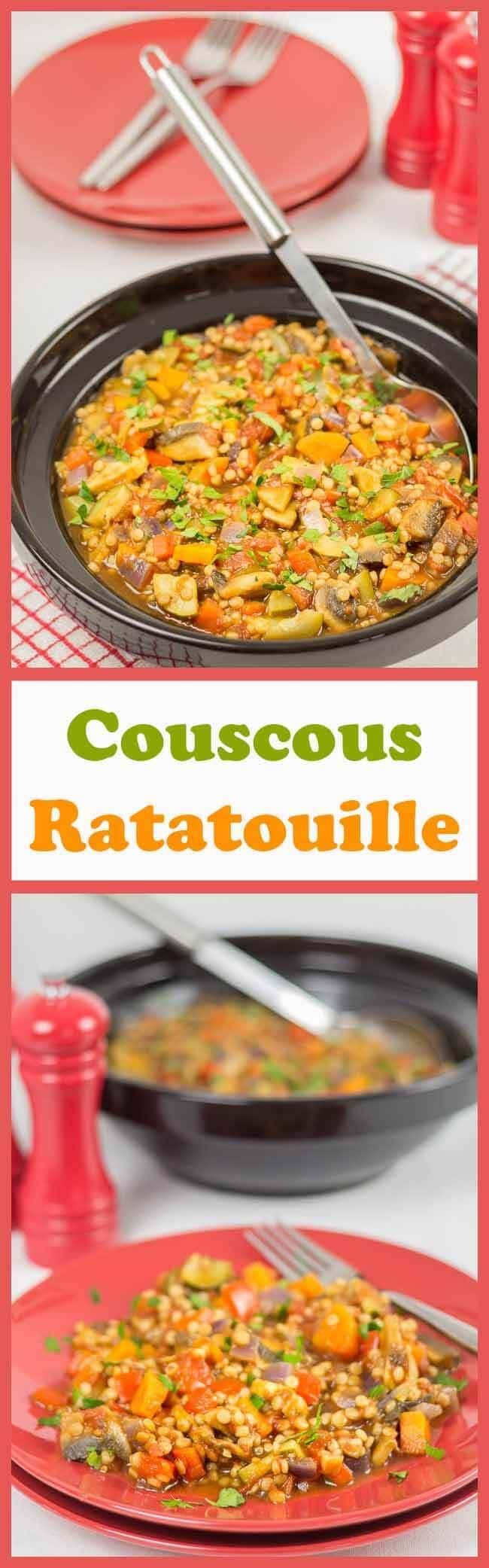 This couscous ratatouille is a delicious vegan medley of vegetables combined with giant couscous, making a perfectly filling quick healthy meal. Ideal as a family dinner and ideal for freezing too, you can be sure you're getting a huge amount of your daily recommended vitamin intake from this healthy recipe.