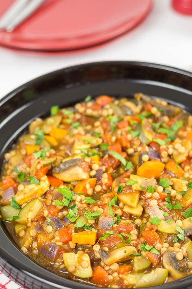 This couscous ratatouille is a delicious vegan medley of vegetables combined with giant couscous, making a perfectly filling quick healthy meal. It's ideal as a family dinner and easily freezable too!