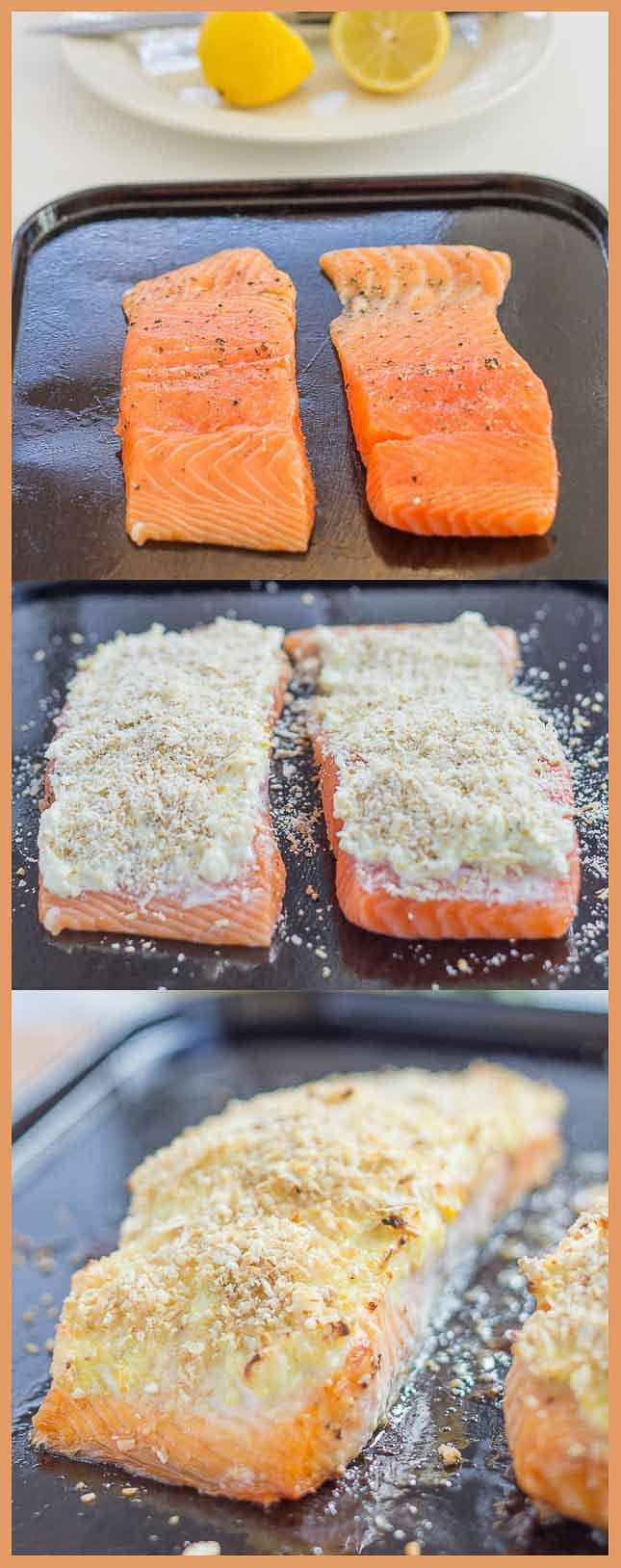Collage of 3 pictures showing raw salmon then salmon topped with cream cheese then salmon topped with parmesan and oat ban.