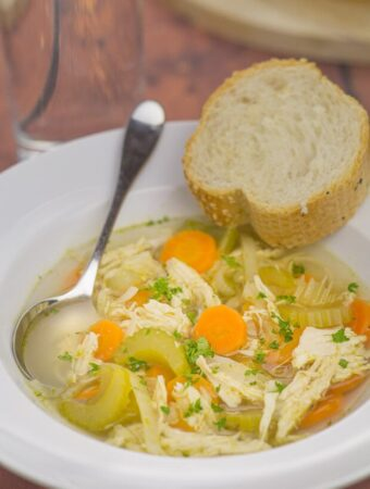 Simple chicken and vegetable soup. Simple because it's made with basic vegetables, a chicken breast and stock cubes.