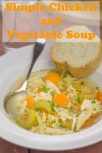Simple chicken and vegetable soup. Simple because it's made with basic vegetables, a chicken breast and stock cubes. You can easily add your own selection of seasonal vegetables or vegetables to use up too. All in all, this is a really easy tasty versatile and satisfying simple soup recipe! #neilshealthymeals #recipe #soup #chicken #vegetables #chickensoup #simplesoup