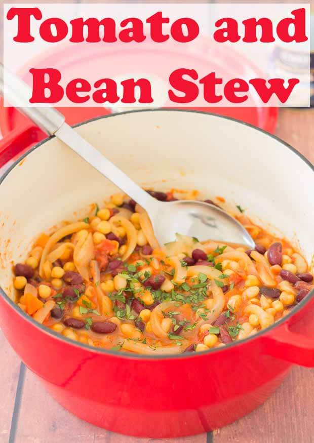 This bean and tomato stew recipe is an easy, delicious one pot solution for when you need a quick healthy meal on the table yesterday. Vegan, high in dietary fibre and bursting flavour, it's sure to satisfy hungry tums! #neilshealthymeals #recipe #tomatostew #beanstew