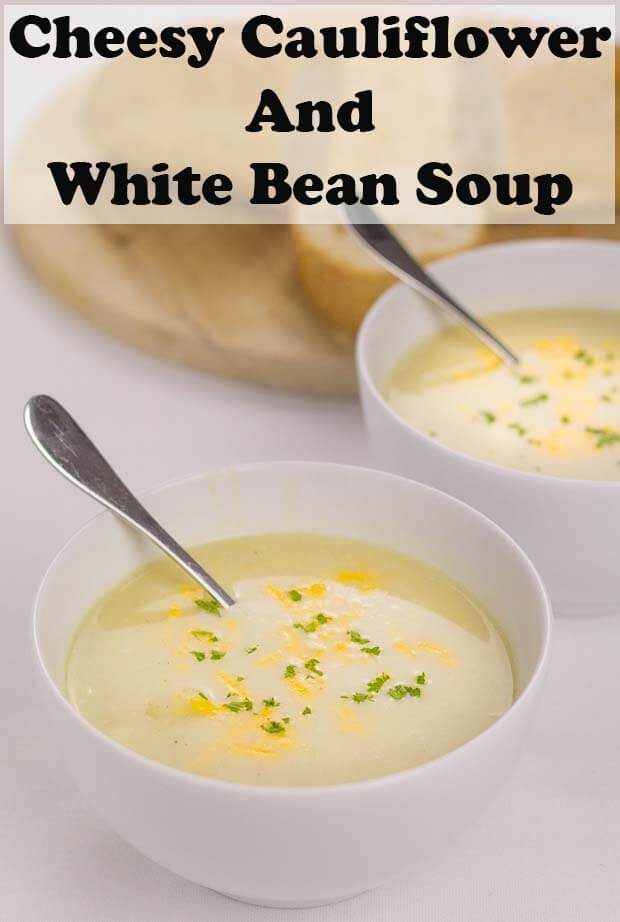 Cheesy cauliflower and white bean soup is a delicious way of creating a twist on the classic combination of cauliflower cheese in the form of a healthy versatile bean soup. Low in fat but packed with essential protein this makes a great, quick healthy lunchtime staple. #neilshealthymeals #recipe #soup #cauliflower #cheese
