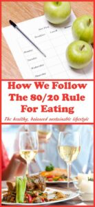 We follow the 80/20 rule for eating. It's part of the 80/20 lifestyle we've adopted. It's not a diet, it's a simple, sensible and practical guide on how to balance eating healthily for the majority of the time (80%) whilst still allowing a little of what we fancy (20%) in the way of treats.
