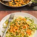 This spiralized courgette spaghetti with chickpeas is not only healthy but really easy to make. A delicious, home-made rich tomato sauce combines the chickpeas together in a glorious fusion of natural flavours producing a great quick healthy meal for all the family.