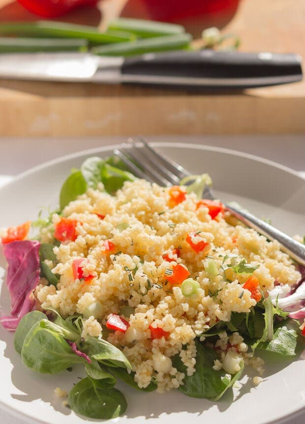 This red pepper and rosemary bulgur wheat salad is just the thing for a simple, quick healthy meal. Delicious hot or cold and keeps you fuller for longer.