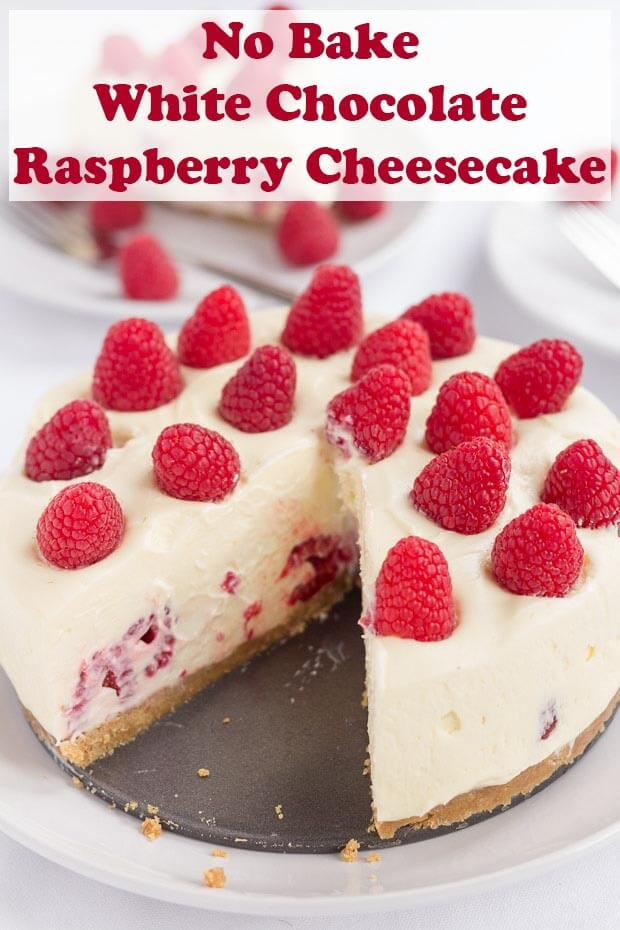 Indulge with this delicious no bake white chocolate and raspberry cheesecake. A tasty crunchy biscuit base covered in a light creamy white chocolate filling stuffed with fresh raspberries. This easy to make recipe is perfect for holidays! #neilshealthymeals #recipe #dessert #nobake #cheesecake #whitechocolate #raspberries