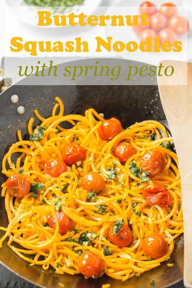 This delicious butternut squash noodles with spring pesto and roasted tomatoes recipe can be ready in just over half an hour. It's a fantastic healthy and vegan low carb spiralized butternut squash alternative to pasta. Made with pretty much the minimum of effort, and it's all fresh ingredients. #neilshealthymeals #recipe #vegan #glutenfree #paleo #butternutsquashnoodles #butternutsquash #spiralizer #pesto #spiralizedbutternutsquash