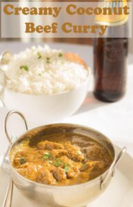This creamy coconut beef curry has all the amazing flavours that you would expect from a dairy cream based curry but, it's made with healthier creamed coconut and it's lower in calories and fat. This is a mild curry and it's really easy to make too. #neilshealthymeals #recipe #dinner #curry #coconut #beef #coconutcurry #beefcurry