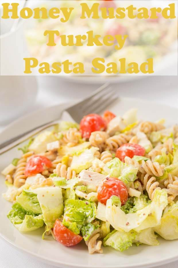 This easy healthy honey mustard turkey pasta salad is made with really simple dressing which adds a whole lot of flavour to this recipe. This pasta salad can easily be enjoyed cold as a packed lunch. #neilshealthymeals #recipe #healthy #pasta #salad