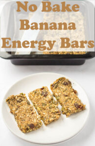 Three no bake banana energy bars on a white plate with the dish they were baked in in the background.