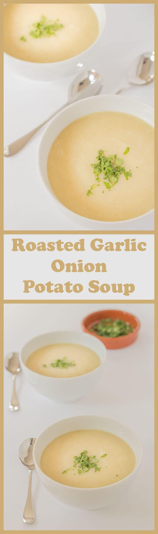 This roasted garlic onion potato soup is made from 6 ingredients, it's vegan and is a perfect way to use up surplus potatoes. It's an easy, tasty variation of the classic potato soup recipe, adding a bit of a twist with the roasted garlic, and it all comes together as a bowl of simple, low cost nourishment! #neilshealthymeals #garlicsoup #onionsoup #potatosoup #vegansoup #glutenfreesoup