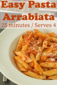 A bowl of easy pasta arrabiata.