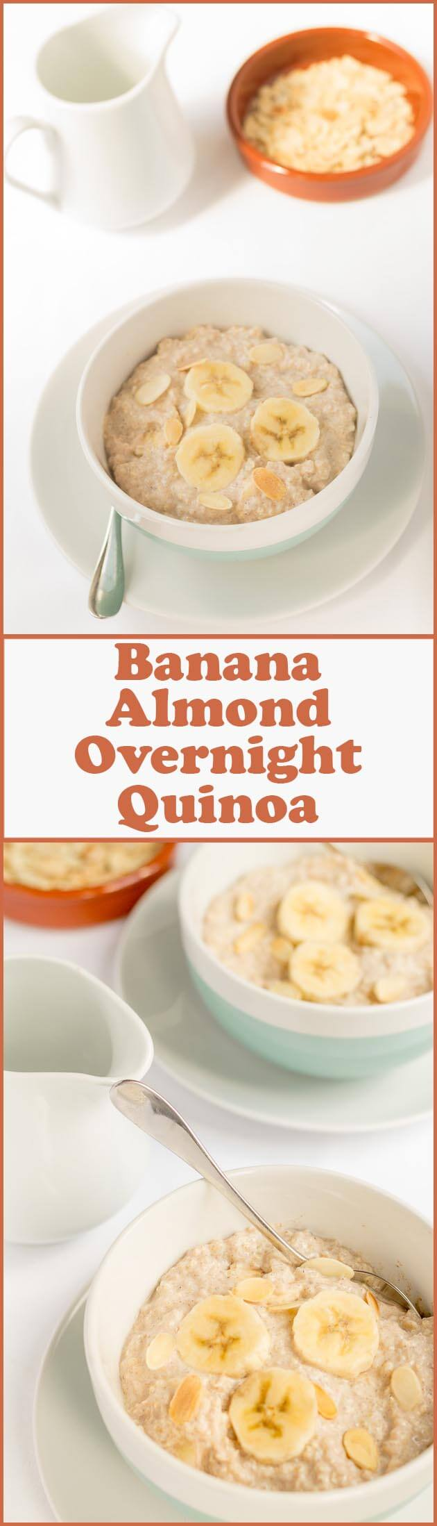 Banana almond overnight quinoa is a really quick, easy and delicious bowl of nutrition to get you started first thing in the morning. It's great waking up and knowing your day starts with this.