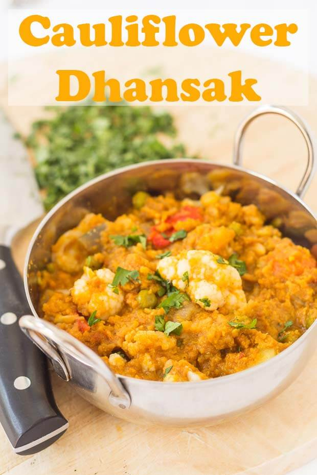 This cauliflower dhansak is a rich and filling medley of delicious flavours. Vegan, gluten free and low calorie too, you'll find yourself coming back again and again for another spoonful of this satisfying curry. #neilshealthymeals #recipes #curry #dhansakcurry #vegan #vegancurry