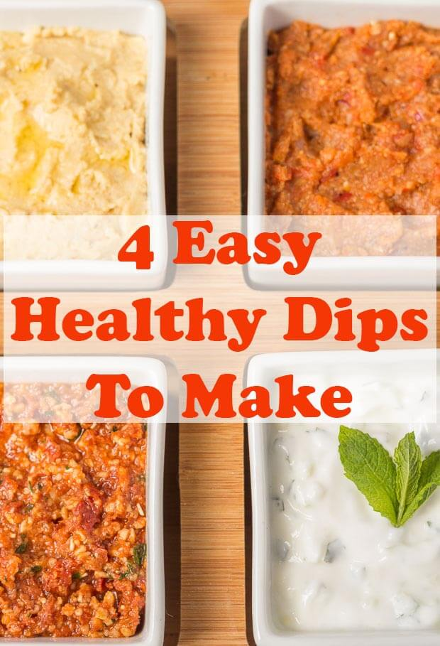 These 4 easy healthy dips to make are perfect for sharing with friends or taking to parties. Tasty and delicious, these guilt free dip recipes are made with less salt, are lower in fat and have no sugar added unlike shop bought. Your friends will thank you for helping to look after their waistlines! #neilshealthymeals #recipe #dips #snacks #sharing #easydips #healthydips