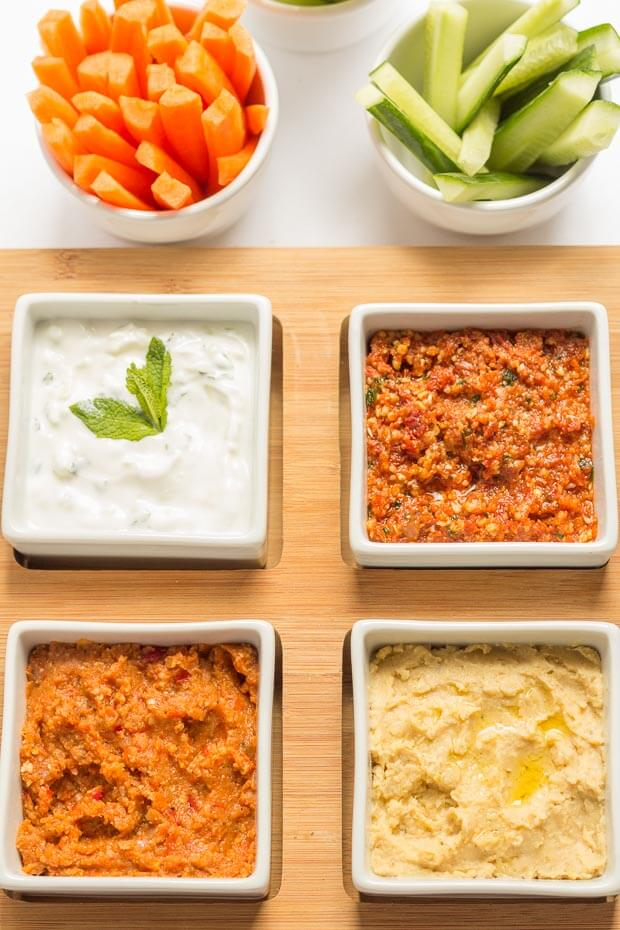 These 4 easy healthy dips to make are perfect for sharing with friends or taking to parties. Tasty and delicious, these guilt free dip recipes are made with less salt, are low in fat and have no sugar added unlike shop bought. Your friends will thank you for helping to look after their waistlines!
