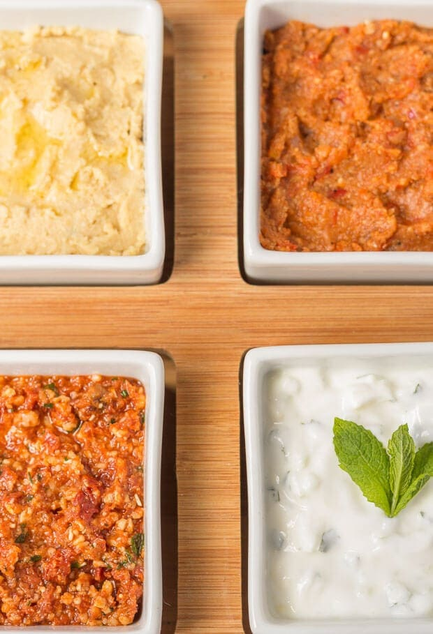 Birds eye view of 4 easy healthy dips.