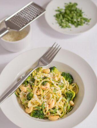 Zucchini Pasta Cashew Stir Fry