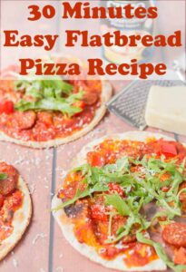 Two 30 minute easy flatbread pizzas. Pin title text overlay at top.