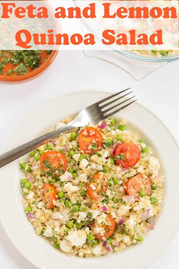 Feta and lemon quinoa salad is a deliciously fresh tasting gluten free vegetarian healthy lunch option. Packed full of nutritional goodness this low cost salad is quick and easy to prepare. The classic Mediterranean flavours, brought to life with a zingy lemon vinaigrette. #neilshealthymeals #recipe #feta #lemon #quinoa #salad #quinoasalad