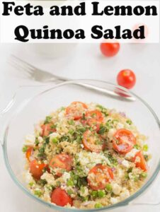 A glass bowl of feta and lemon quinoa salad. Pin title text overlay at top.