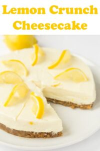 Lemon crunch cheesecake is a delicious no bake cheesecake recipe. It's simple, low cost and easy to make. With an amazing zingy refreshing lemon flavour all it requires is a bit of time to set in your fridge. From just 6 basic ingredients you're getting 8 slices of dessert heaven! #neilshealthymeals #cheesecake #dessert #pudding #lemon #lemoncrunch #lemoncheesecake #budgetcheesecake #easycheesecake
