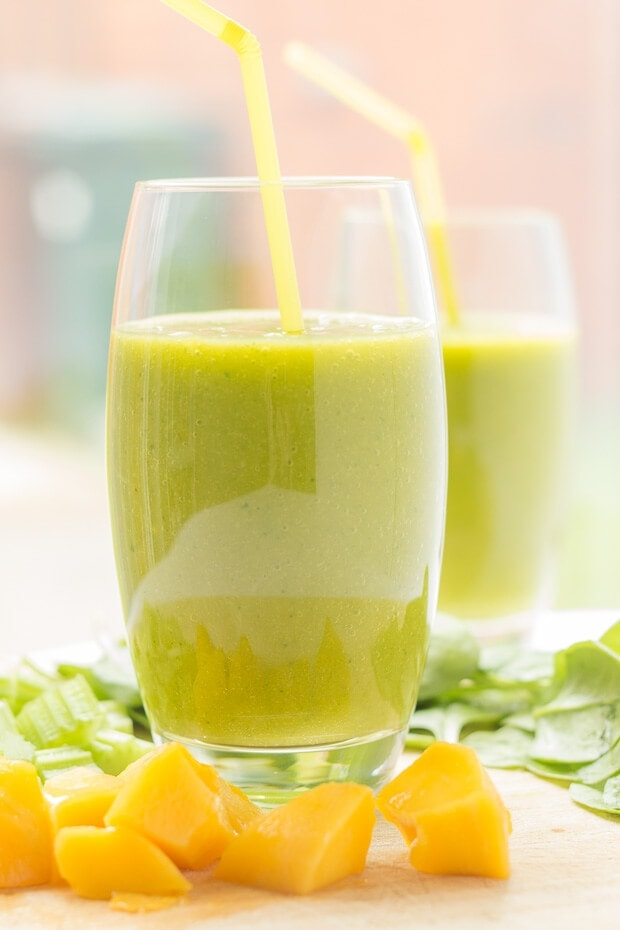 This orange mango green smoothie is only 185 calories per serving. It's delicious and refreshing and it has a whopping vitamin C content, giving you a huge boost to help you start your day!