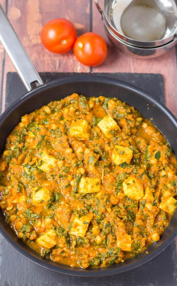 This vegetarian paneer and chickpea curry is not only healthy and easy to make, but it's incredibly low cost too. Tinned tomatoes, tinned chickpeas and a combination of store cupboard spices combined with paneer cheese make a deliciously mild family curry for four!